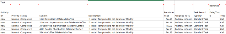 Task Template XLS